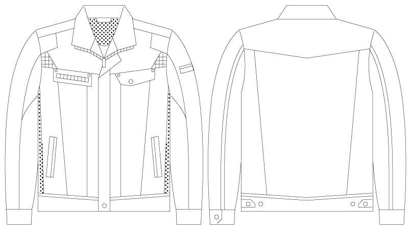 55500 自重堂JAWIN [春夏用]長袖ジャンパー(新庄モデル) ハンガーイラスト・線画