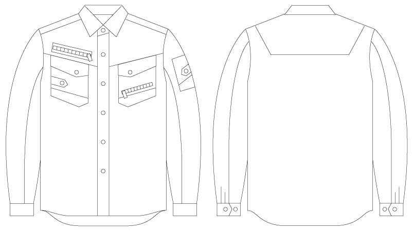自重堂 56004 [春夏用]JAWIN 長袖シャツ(新庄モデル) ハンガーイラスト・線画