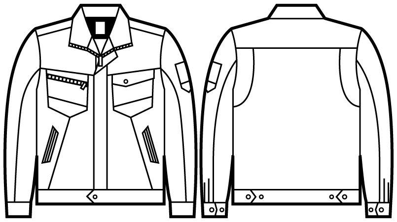 自重堂Z-DRAGON 71300 製品制電ジャンパー(JIS T8118適合) ハンガーイラスト・線画
