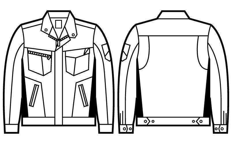 自重堂 71500 [秋冬用]Z-DRAGON 製品制電ツイル長袖ジャンパー ハンガーイラスト・線画