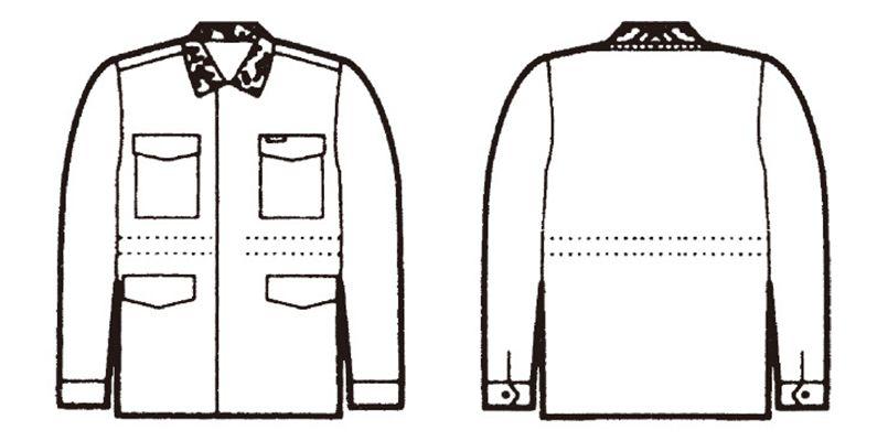 自重堂 7200 カストロコート(ドカジャン・フード付き) ハンガーイラスト・線画