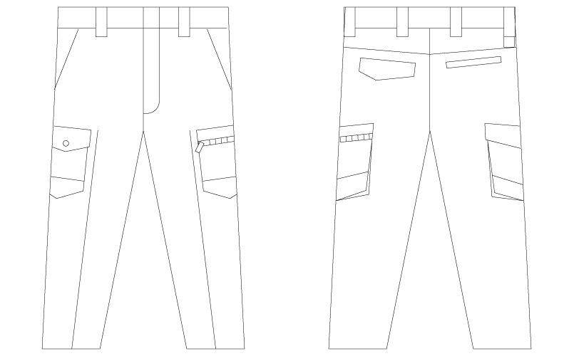 自重堂 75302 [春夏用]Z-DRAGON 製品制電ノータックカーゴパンツ(男性用) ハンガーイラスト・線画