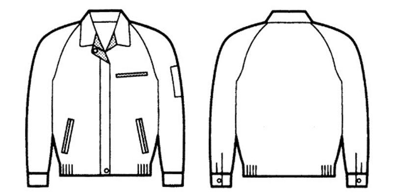 834 自重堂 低発塵製品制電レディースブルゾン(JIS T8118適合) ハンガーイラスト・線画