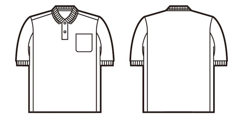 84984 自重堂 製品制電吸汗速乾半袖ポロシャツ(胸ポケット有り)(JIS T8118適合) ハンガーイラスト・線画