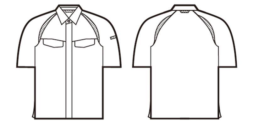 自重堂 85114 [春夏用]エコ製品制電半袖シャツ(JIS T8118適合) ハンガーイラスト・線画