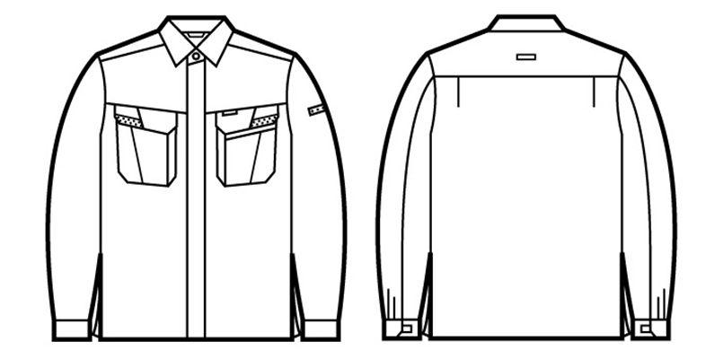85604 自重堂 製品制電ストレッチ 長袖シャツ(JIS T8118適合) ハンガーイラスト・線画