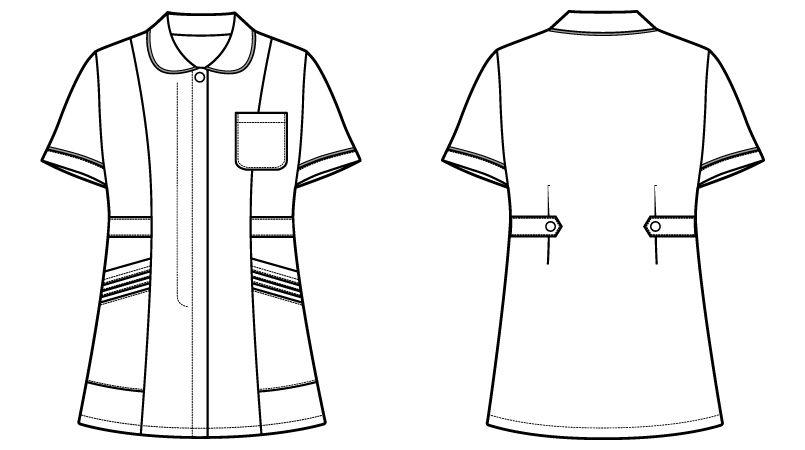 自重堂 WH11101 チュニック WHISEL チュニック パイピング かわいい襟元(女性用) ハンガーイラスト・線画