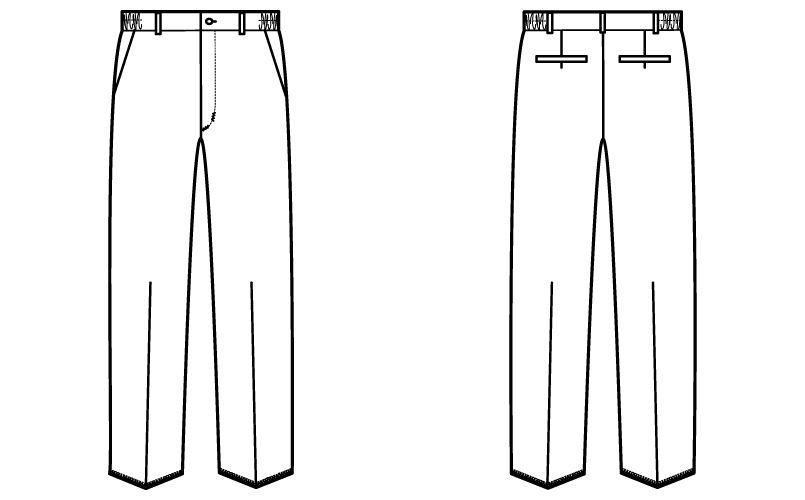 自重堂WHISEL WH12006 メンズパンツ ウエストゴム(両サイド)(男性用) ハンガーイラスト・線画