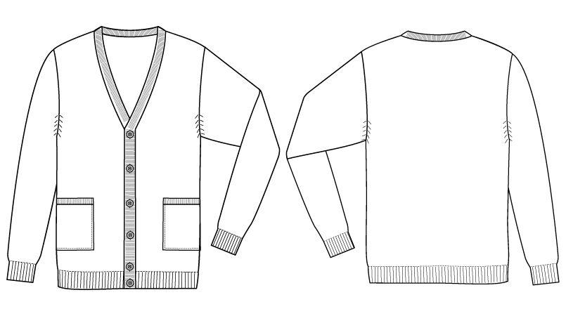 自重堂WHISEL WH90419 メンズカーディガン(男性用) ハンガーイラスト・線画
