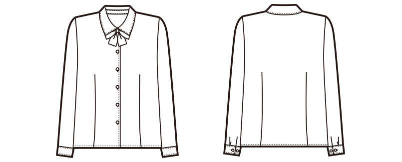 en joie(アンジョア) 01130 [通年]シンプルデザインで定番3つの襟を楽しめる長袖ブラウス 無地 ハンガーイラスト・線画