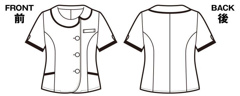 en joie(アンジョア) 26240 [春夏用]アシンメトリーな大きめの丸み襟のチェック柄オーバーブラウス[抗菌・防臭] ハンガーイラスト・線画
