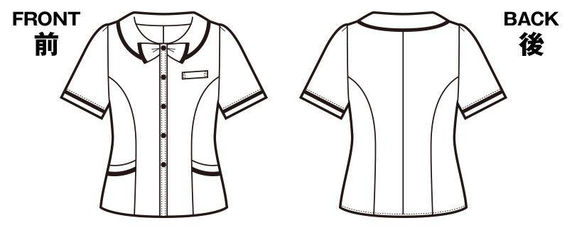 en joie(アンジョア) 26350 [春夏用]リボンモチーフの襟が大人かわいいチェック柄のオーバーブラウス ハンガーイラスト・線画