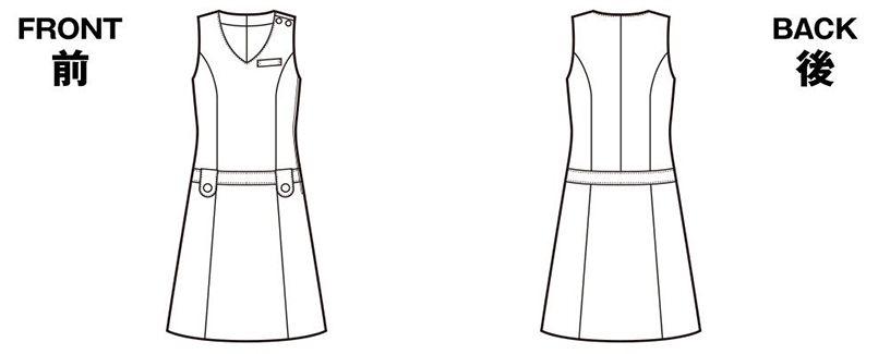 en joie(アンジョア) 66300 [春夏用]涼しい着心地のジャンパースカート 無地 ハンガーイラスト・線画