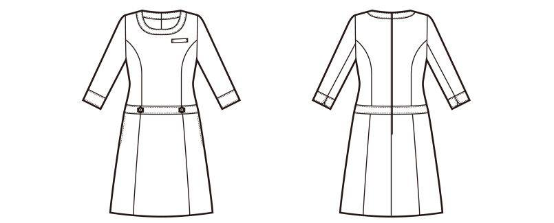 en joie(アンジョア) 66410 ボーダー×ネイビーが清楚な七分袖ワンピース(女性用) ハンガーイラスト・線画