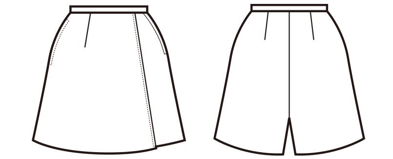 en joie(アンジョア) 71075 ラップキュロット 無地(45cm丈) ハンガーイラスト・線画
