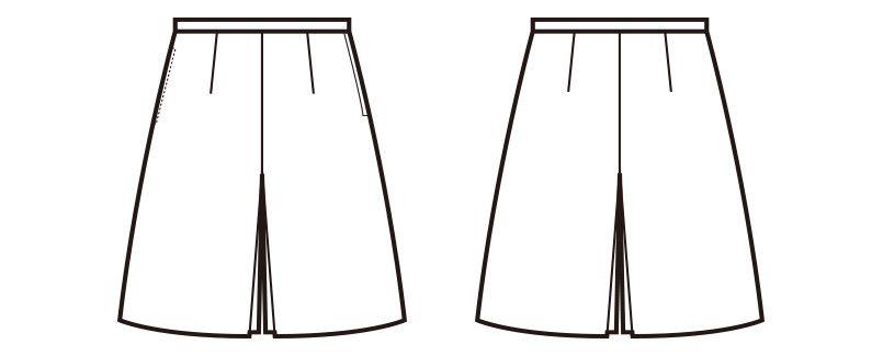 en joie(アンジョア) 71645 ボックスプリーツスカート風キュロット(53cm丈) 無地 ハンガーイラスト・線画