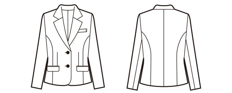 en joie(アンジョア) 81415 [通年]美しいシルエットのテーラードジャケット 無地 ハンガーイラスト・線画