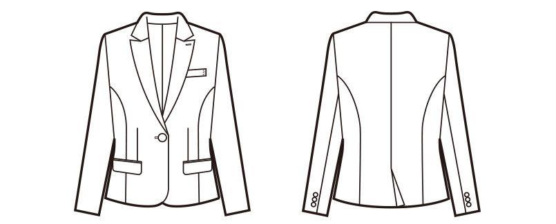 [在庫限り/返品交換不可]en joie(アンジョア) 81490 すらりと細めシルエットのストライプ柄ジャケット ハンガーイラスト・線画