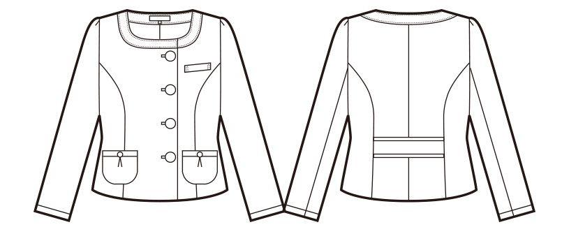 en joie(アンジョア) 81730 知的エレガンスで高級感のあるブルーツイード素材ジャケット ハンガーイラスト・線画
