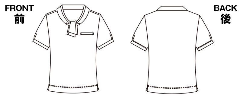 ESP404 enjoy 愛らしさを品よく生み出す繊細なフレンチドットのオフィスポロシャツ 無地 ハンガーイラスト・線画