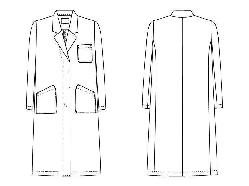 KEX5130 ナガイレーベン(nagaileben) ケックスター シングル診察衣/長袖(女性用) ハンガーイラスト・線画